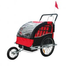 red child bike trailer