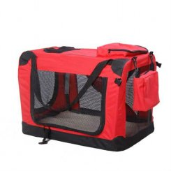 red travel soft dog carrier