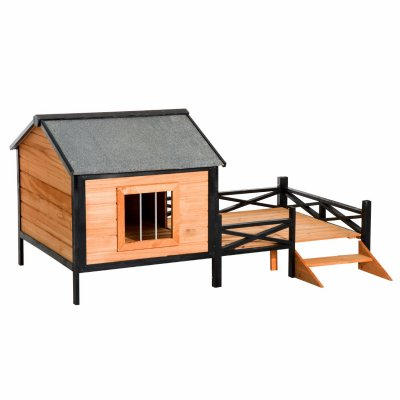 wooden dog house with porch