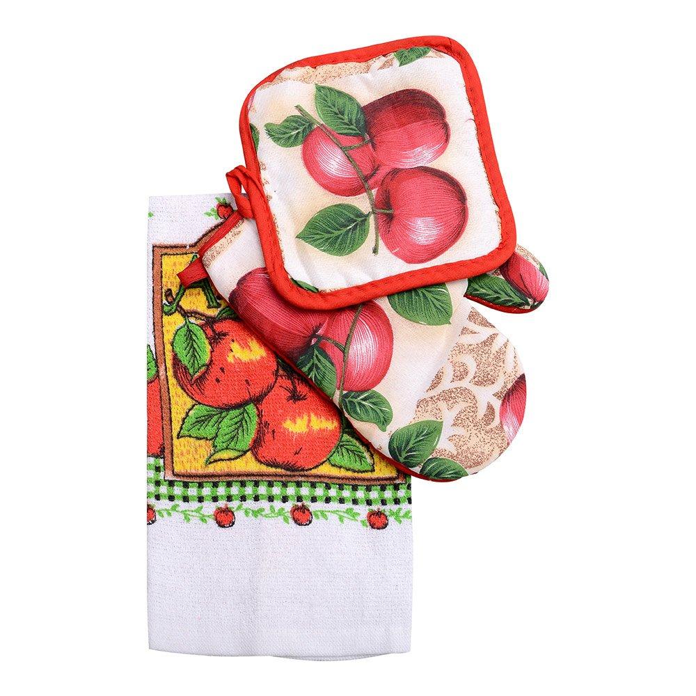 3 Piece Set Pot Holder Oven Mitt Dish Towel Gift Set
