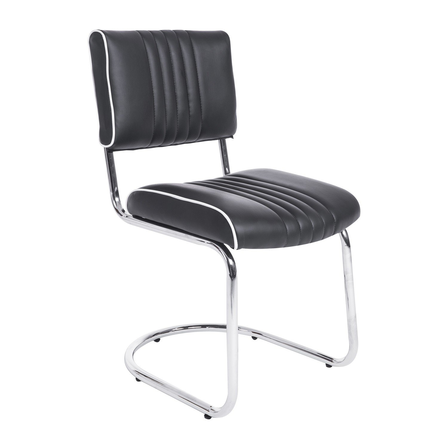 2 Pcs Stainless Steel Amp Pu Leather Dining Chairs Black