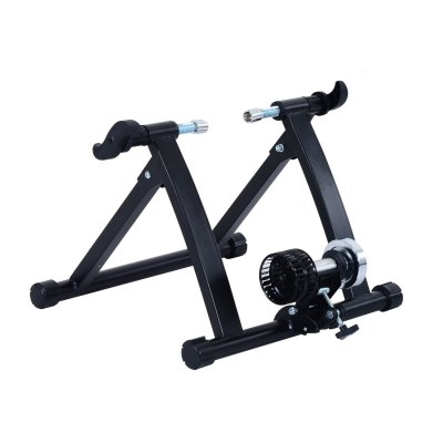 black exercise bike trainer