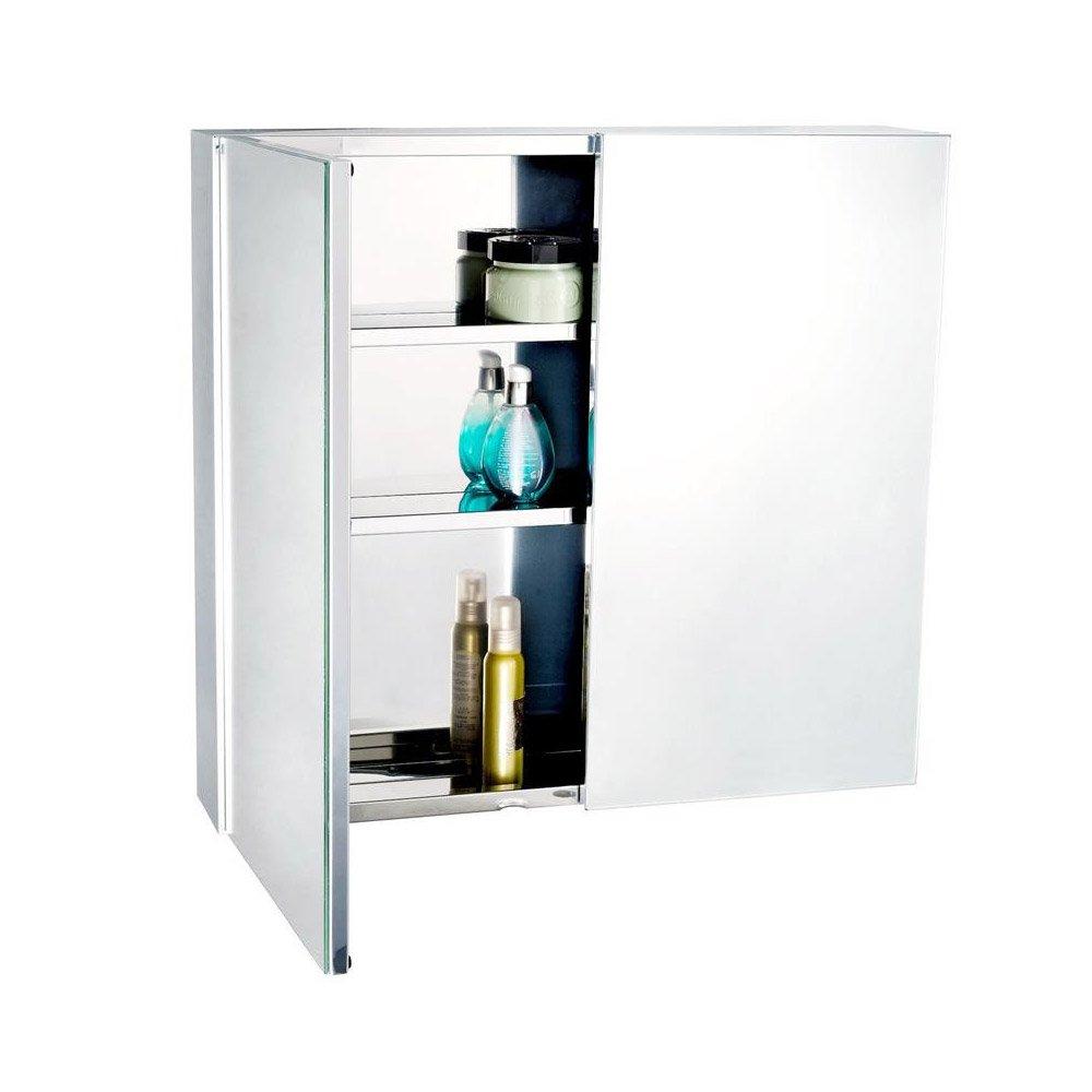 stainless steel bathroom mirror cabinet double doors