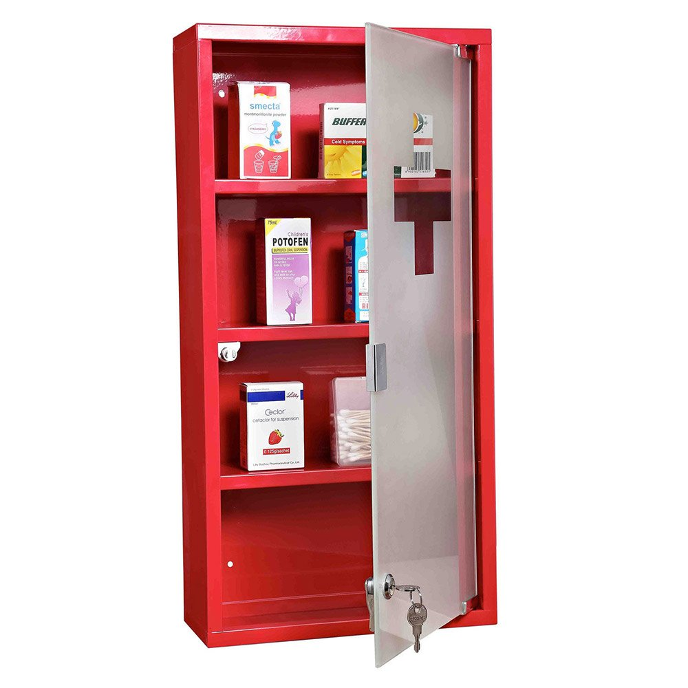 Stainless Steel Wall Mounted Operating Room Medical Storage Cabinets Red