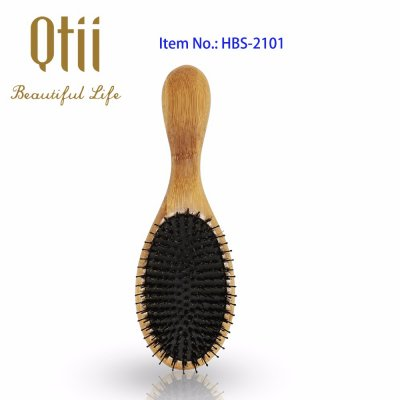 Oval Bamboo Hair Brush with Bristle and Thin Nylon Pin HBS-2101-1