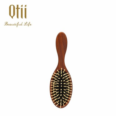 Oval Shape Plastic Hair Brush with Wooden Like Paint 1