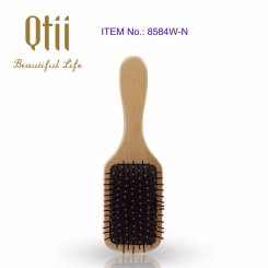 Paddle Wooden Hair Brush with Nylon Pin  1-item