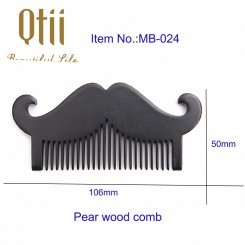 Natural Beard Shape Pear Wood Beard Comb MB-024-1