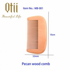 Natural Pecan Wood Beard Detangler Hair Comb  MB-001-1