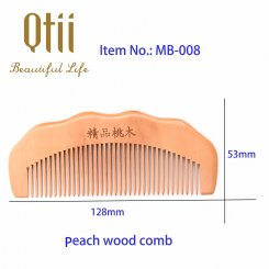 Natural Peach Wood Hair Comb with Raised Grain MB-008-1