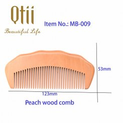 Natural Peach Wood Hair Comb with Raised Grain MB-009-1