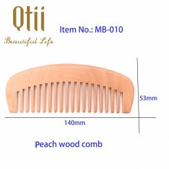 Mustache Natural Peach Wood Comb with Wide Teeth  MB-010-1