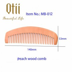 Natural Peach Wood Hair Comb with Wide Teeth MB-012-1