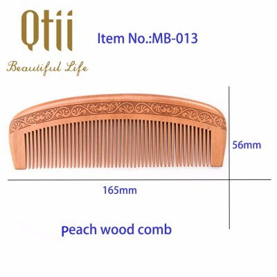 Natural Peach Wood Hair Comb with Carve Pattern MB-013-1