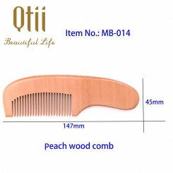 Natural Peach Wood Hair Comb with Short Curved Handle MB-014-1
