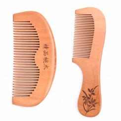 Natural Peach Wood Hair Comb Handle Carved with Daffodil Pattern MB-015 group