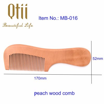 Natural Peach Wood Hair Comb with Handle MB-016-1