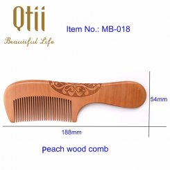 Natural Peach Wood Hair Comb with Carve Patterns MB-018-1