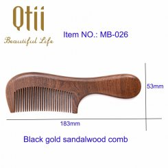 Handmade Natural Black Gold Sandalwood Hair Comb with Holding Handle MB-026-1