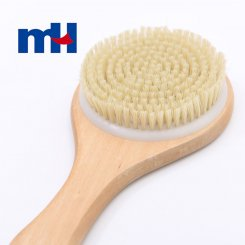Natural Boar Bristles Wood Long Handle Bath Brush, Body Brush for Wet or Dry Brushing-3
