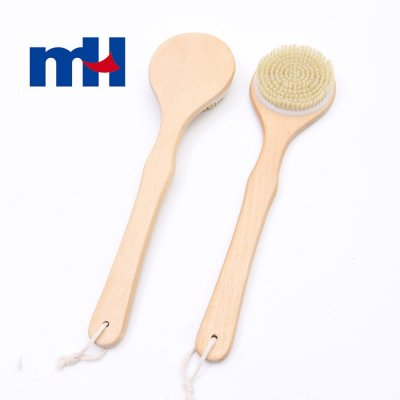 Natural Boar Bristles Wood Long Handle Bath Brush, Body Brush for Wet or Dry Brushing-1