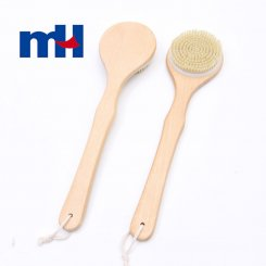 Natural Boar Bristles Wood Long Handle Bath Brush, Body Brush for Wet or Dry Brushing-1
