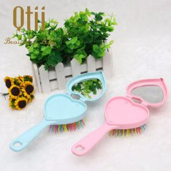 2 in 1 Heart Shaped Paddle Brush with Mirror HBS-036-2