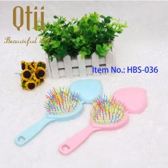 2 in 1 Heart Shaped Paddle Brush with Mirror HBS-036-1