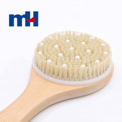 Natural Boar Bristles Wood Long Handle Bath Brush with Massage Nodes, Body Brush-2