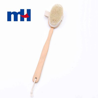 Natural Boar Bristles Wood Long Handle Double Side Bath Brush with Massage Nodes-1