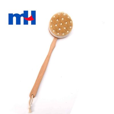 Natural Boar Bristles Wood Long Handle Bath Brush with Massage Nodes, Body Brush for Wet or Dry Brushing, 4010.5cm-1