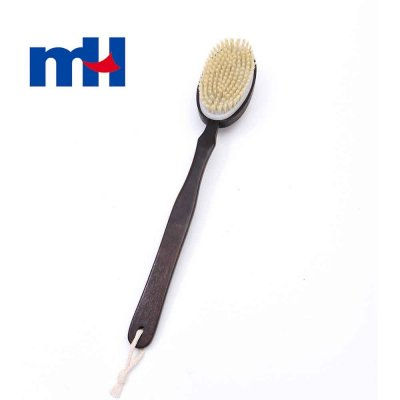 Natural Bristles Double Side Shower Brush with Long Handle for Back Scrubber, Wooden Massage Brush-1