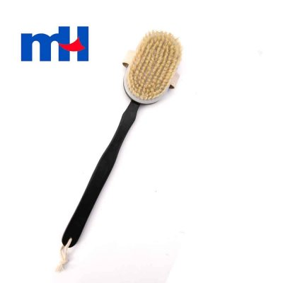 Natural Bristles Shower Brush with Long Handle for Back Scrubber, Brown Wooden Bath Body Brush, 428cm--1
