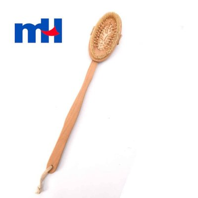 Natural Bristles Shower Brush with Long Handle for Back Scrubber, Wooden Massager Brush, 427cm-1